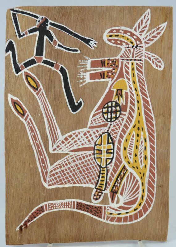 Vintage Bark Painting in Aboriginal X-ray Style Depicting Kangaroo and a Hunter, Art, Australian by vintagecornerbazaar. Explore more products on http://vintagecornerbazaar.etsy.com