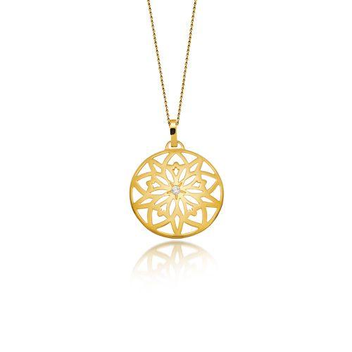 "Pendant Love Charm 2015 ""Centaurea""with a diamond, in yellow gold 18KT."