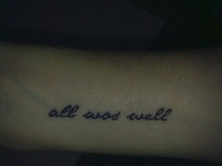 That is the last sentence of the last Harry Potter book. I always wanted a tatto refering to the book and that was the most meaningful and creative idea I could have.