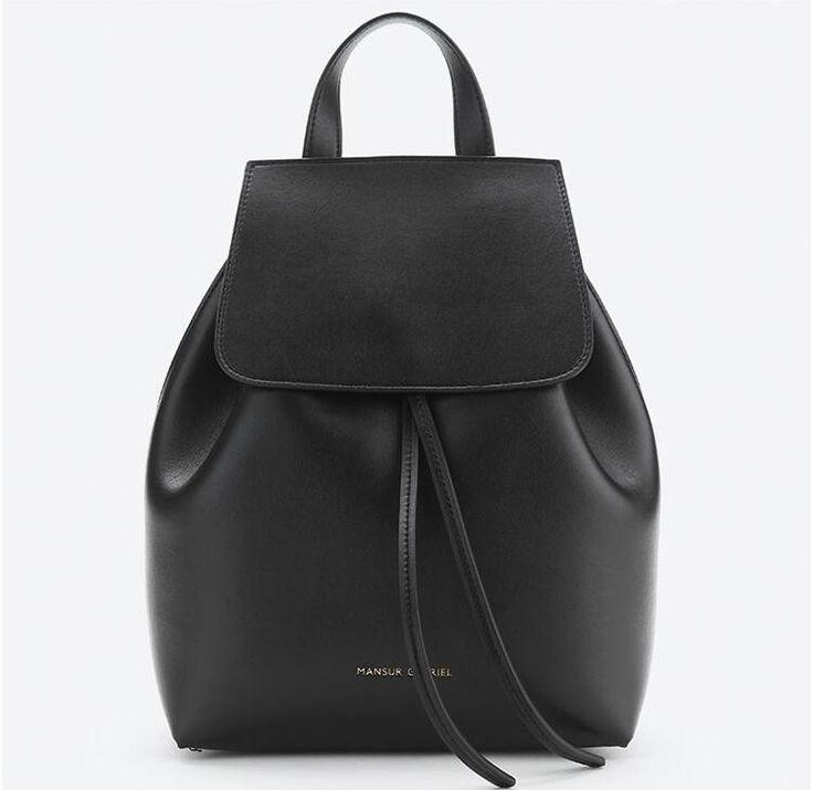 Мансур Гавриэль рюкзаки белый черный кожаный небольшой мини рюкзак женщины люксовый бренд drawstring школьные сумки для подростков backbag купить на AliExpress