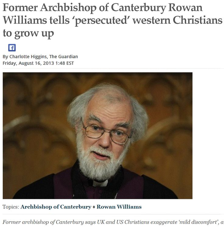 "Former Archbishop of Canterbury Rowan Williams tells 'persecuted' western Christians to grow up.      > > Einstein on the Abrahamic idolatries: The worship of false gods such as Yahweh is not only ""unworthy but also fatal"", with ""incalculable harm to human progress.""  >  >  Mohler spoke about the ""priority of preaching in a post-Christian age"" at the seminar… Secularism -- or secular space -- dominates the world, Mohler said. ... http://www.bpnews.net/bpnews.asp?id=5548"