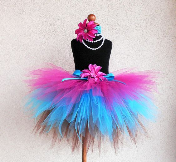 Birthday Tutu - Hot Pink Blue Brown Tutu - Trendylicious - Sewn 3 Tiered Pixie Tutu - Tiara's Boutique Original - Girls Tutu - Cupcake Tutu. $46.00, via Etsy.