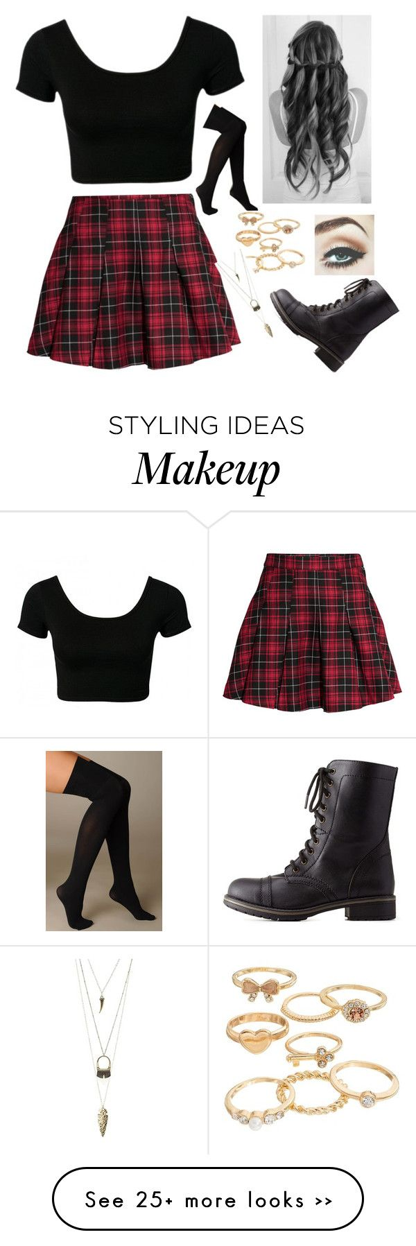 """""""Back to school"""" by bronycutie2 on Polyvore featuring H&M, Hue, Mudd and Charlotte Russe"""