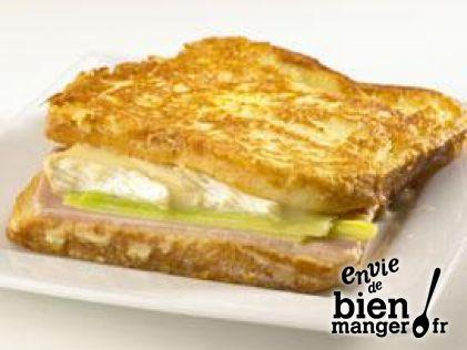 Croque camembert, jambon braisé et poireau