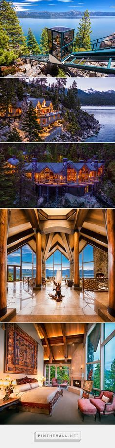 This is what $75 million gets you on Lake Tahoe. Click thru to see the slide show of this place - it's AMAZING! - created via https://pinthemall.net