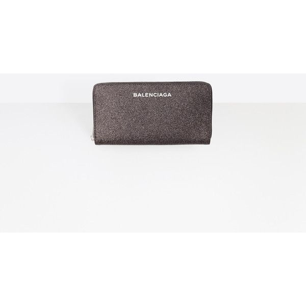 Balenciaga Glitter Essential Continental Zip Around Essential... ($369) ❤ liked on Polyvore featuring bags, wallets, black, long zip wallet, zip bag, zipper bag, balenciaga and balenciaga bag