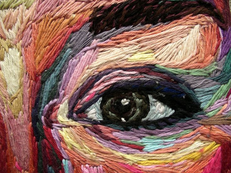 Process Photos of Julie Sarlouttes Embroidered Self Portrait