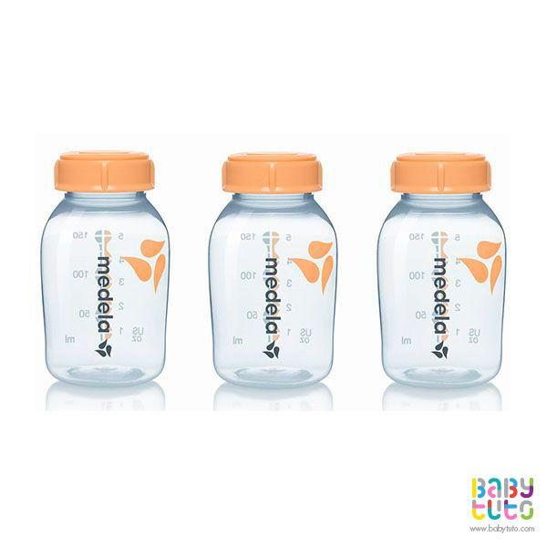 Set de mamaderas de 150 ml. 3 unidades, $12.300 (precio referencial). Marca Medela: http://bit.ly/1QGIwpd