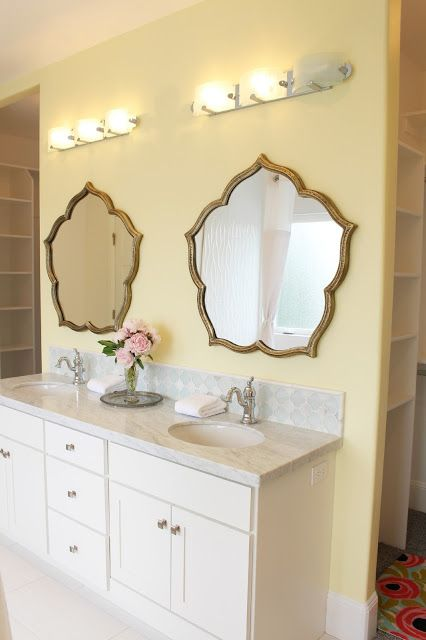Home tour yellow bathroom paint color butter by for Bathroom ideas yellow walls