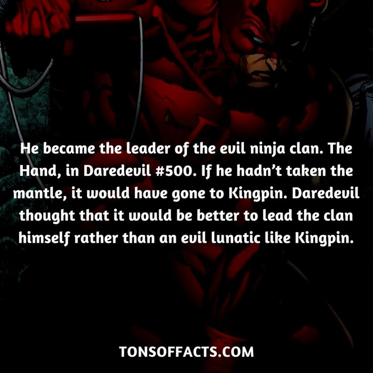 He became the leader of the evil ninja clan. The Hand, in Daredevil #500. If he hadn't taken the mantle, it would have gone to Kingpin. Daredevil thought that it would be better to lead the clan himself rather than an evil lunatic like Kingpin.  #daredevil #tvshow #thedefenders #comics #marvel #interesting #fact #facts #trivia #superheroes #memes #1