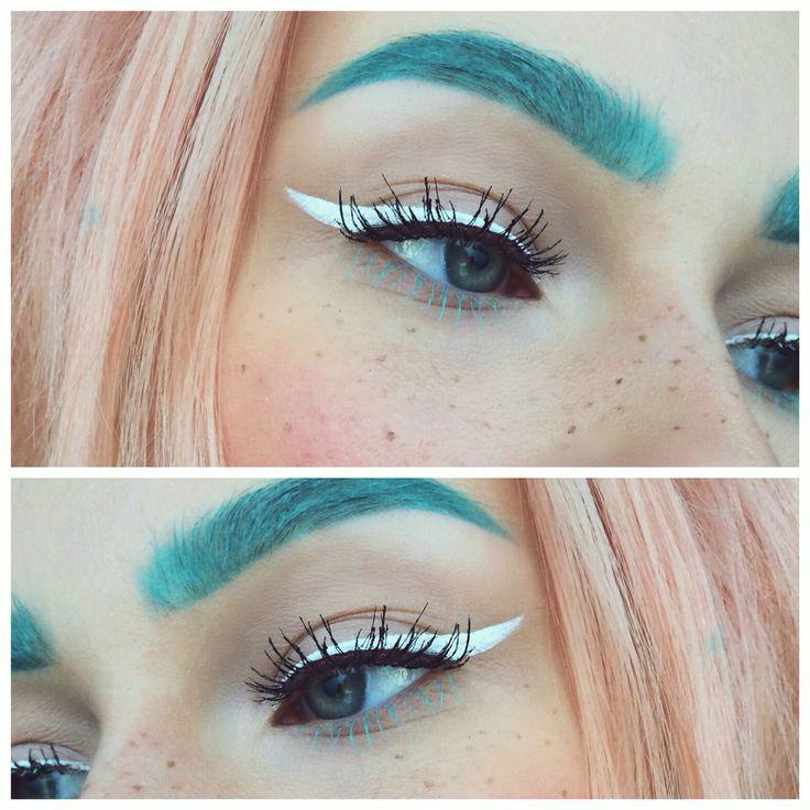 "nyx cosmetics ""mint julep"" mascara on brows & white liquid liner cat eye"