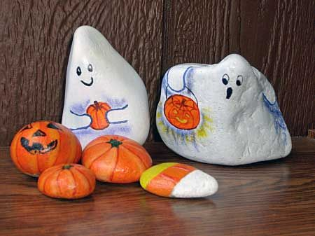 Ghosts, Pumpkins & Candy Corn Painted Rocks