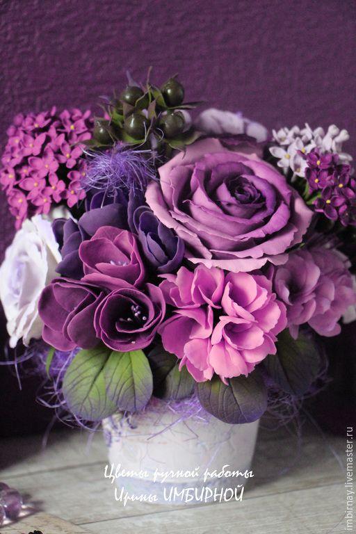 """Купить """"Фиолетовые сны"""" - фиолетовый, сиреневый, лиловый, черный, холодный фарфор, полимерная глина"""