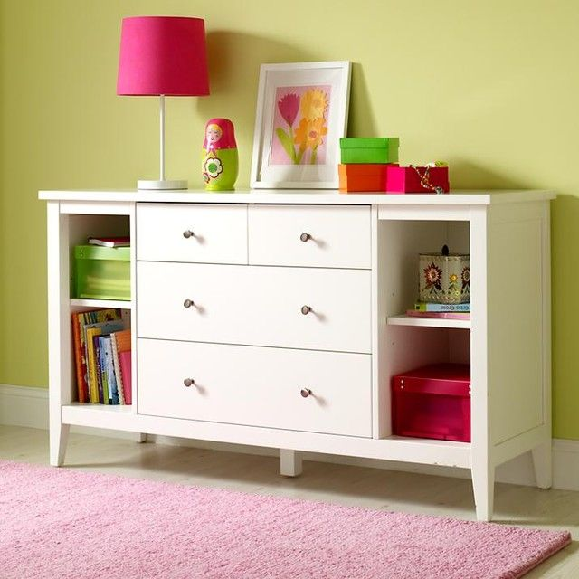White Dresser For Kids With Pink Carpet With Contemporary Style