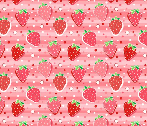 Bright Strawberry fabric by nossisel on Spoonflower - custom fabric