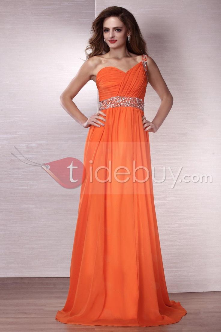 74 best tennessee vols wedding images on pinterest orange gorgeous one shoulder empire floor length eveningprom dress ombrellifo Gallery