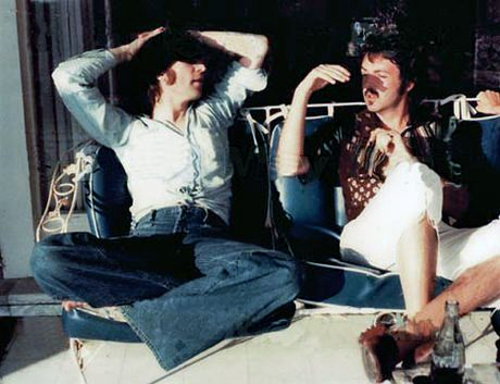 Last known photograph of John Lennon and Paul McCartney together, Santa Monica, 1974.