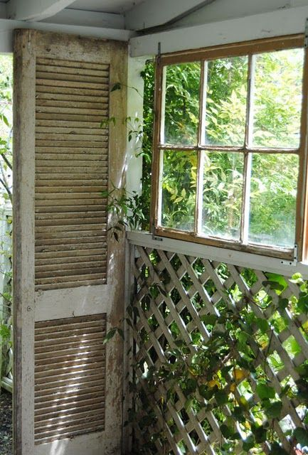 love this old window and shutter on the porch: Window Shutters, Windows Doors Fram, Old Windows, Neat Ideas, Windows N Doors, Windows Doors Shutters Cr