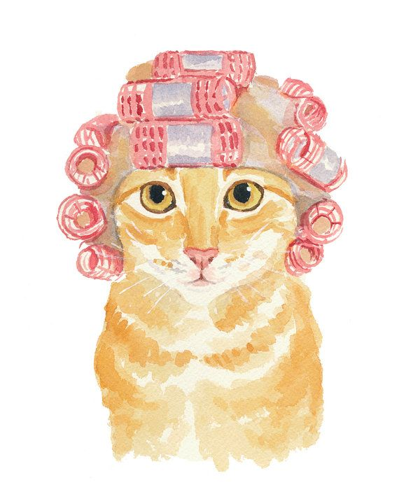 Cat Watercolour PRINT Orange Tabby Cat Painting by WaterInMyPaint