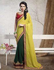 Yellow & Green Color Half Georgette & Half Georgette Butti Casual Party Sarees : Nishta Collection YF-31146