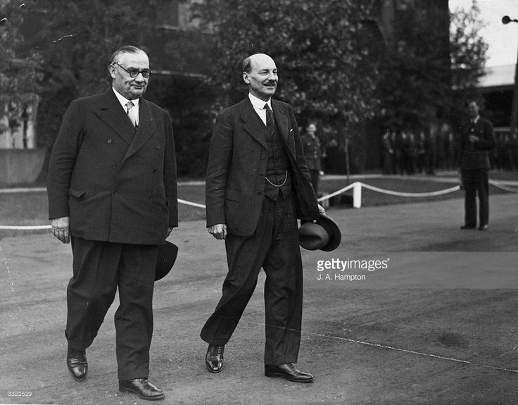 Newly-elected British Labour prime minister Clement Attlee (right) with Foreign Minister Ernest Bevin, leaving for the Potsdam Conference.
