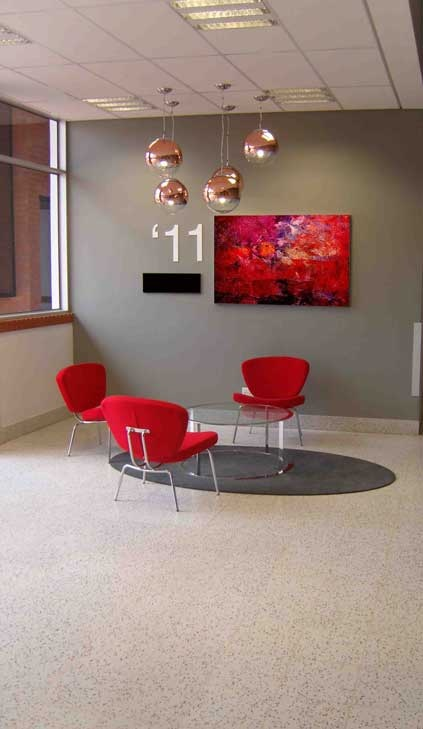 #Terrazzo tiles with matching grout create a seamless floor in this reception area. #UnionTiles