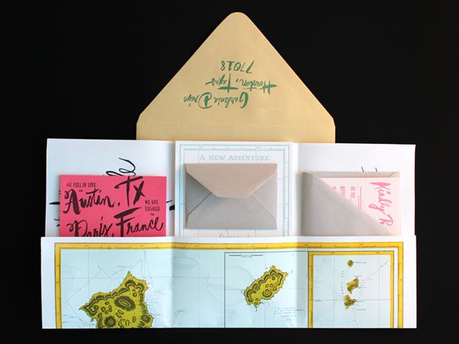 Oversize Map Destination Wedding Invitations | oh so beautiful paper