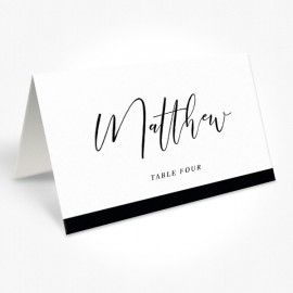 Modern Wedding Placecards, White Ink Printing on Navy, Black or Charcoal, Professionally Printed by Peach Perfect Australia
