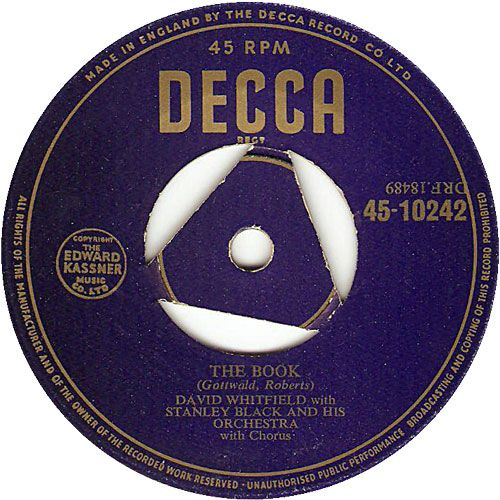 45cat - David Whitfield - The Book / Heartless - Decca - UK - F 10242
