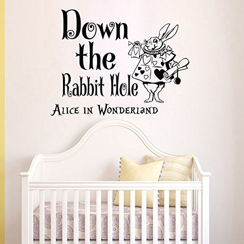 Wall Vinyl Decal Quote Sticker Home Decor Art Mural Down The Rabbit Hole  Alice In Wonderland Part 63