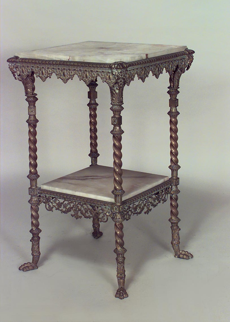 American Victorian Brass Square End Table With Onyx Top And Shelf And Claw  Feet Braided Rope Around Legs And Lace For Edges. Marble Top To Match Floor?