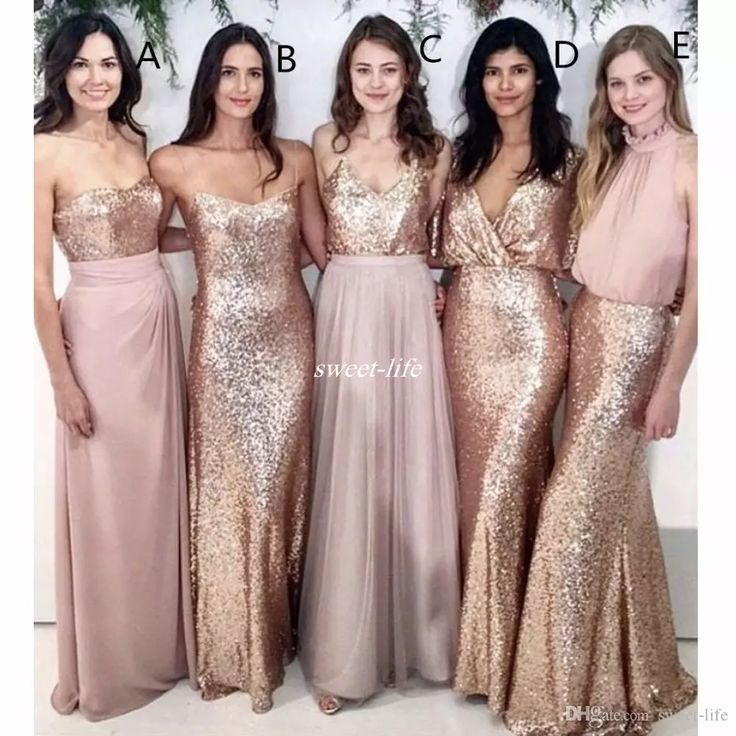 Modest Blush Pink Beach Wedding Bridesmaid Dresses With Rose Gold Sequin Mismatched Maid Of Honor Gowns Women Party Formal Wear 2017