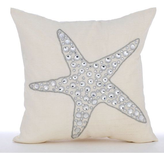 Starfish Crystals - 16x16 Inch Ivory Linen Throw Pillow with crystal embroidery.