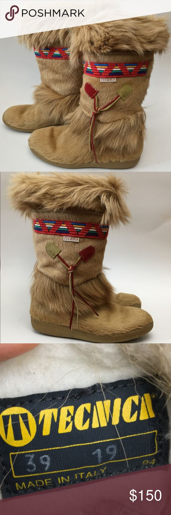 Vtg 70s Tecnica Fur Apres Ski Boots Rainbow Trim Vintage Tecnica Tan Fur Apres Ski Boots Rainbow Trim Italy Womens 39 US 8.  Calf hair with a fun red woven trim. Rainbow triangles on trim. Shaft measurement can been seen in photos. Never worn. Vintage 70s item. Dime size section with fur missing as seen in photos.  Please review condition section and all photos prior to purchase. Tecnica Shoes Winter & Rain Boots