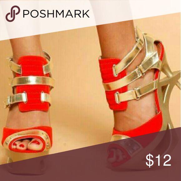 ORANGE HEELS New never worn 4in heel 2in platform  Stapy orange heel Bumper... True fit bumper Shoes Heels