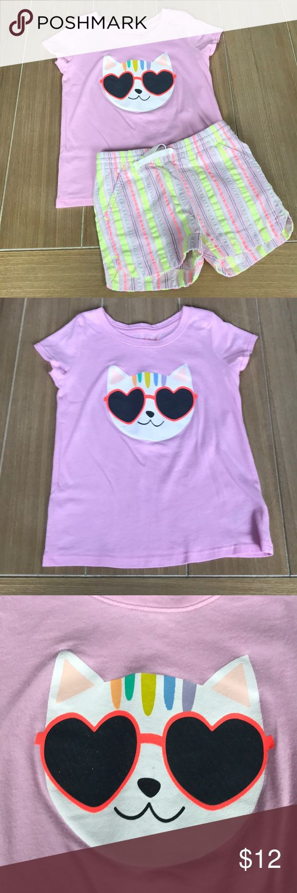 Cat & Jack Cool Cat Matching Set Matching set includes light purple tee shirt with cat print and striped shorts. Both worn and washed with tide. Both slightly faded from wash but lots of wear left. Shorts have three pockets and drawstring. Bundle and save! cat & jack Matching Sets