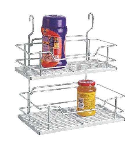 Perdiem Hanging Storage Rack Double For Kitchen - 6 Inch - SS