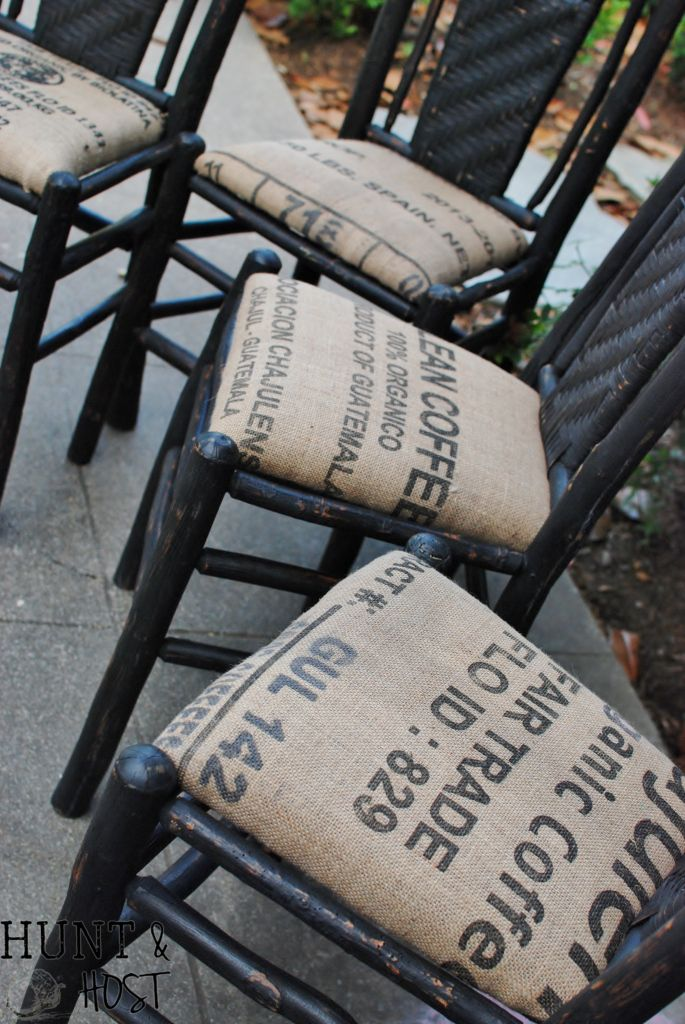 Garage sale scores chalk painted, waxed and crisply topped off with coffee bean sack seats. www.huntandhost.com