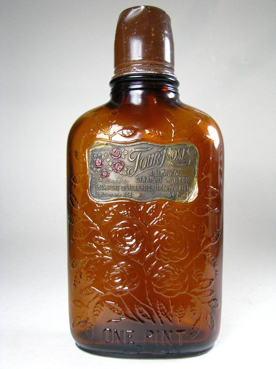 Res D For C Four Roses Vintage Whiskey Bottle Back Bar Decor Amber Liquor Flask Western Theme Bottle Liquor Flask Antique Bottles