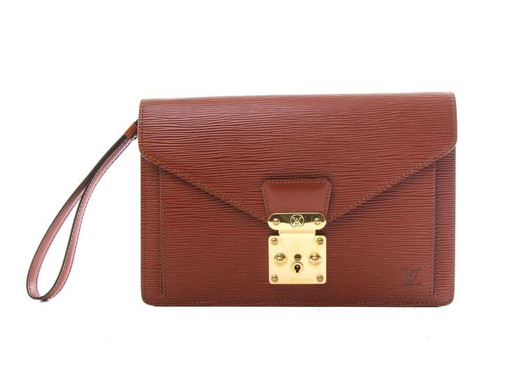 Authentic Louis Vuitton Pochette Sellier Dragonne Epi brown handbag M52613