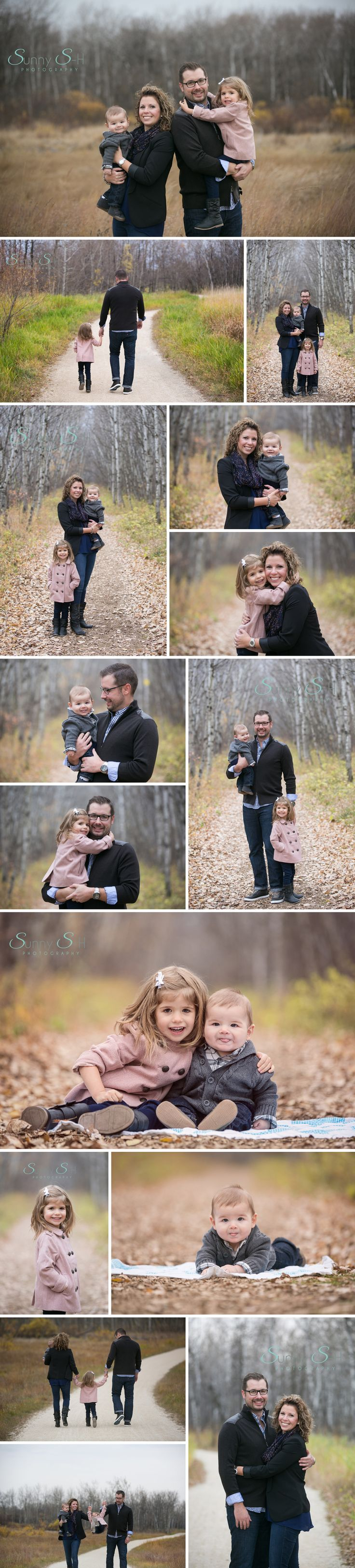 Late fall family portraits.  The leaves are gone, but the trees still look amazing.  Loving this family of four.  So many smiles.  Fall family portrait photography.