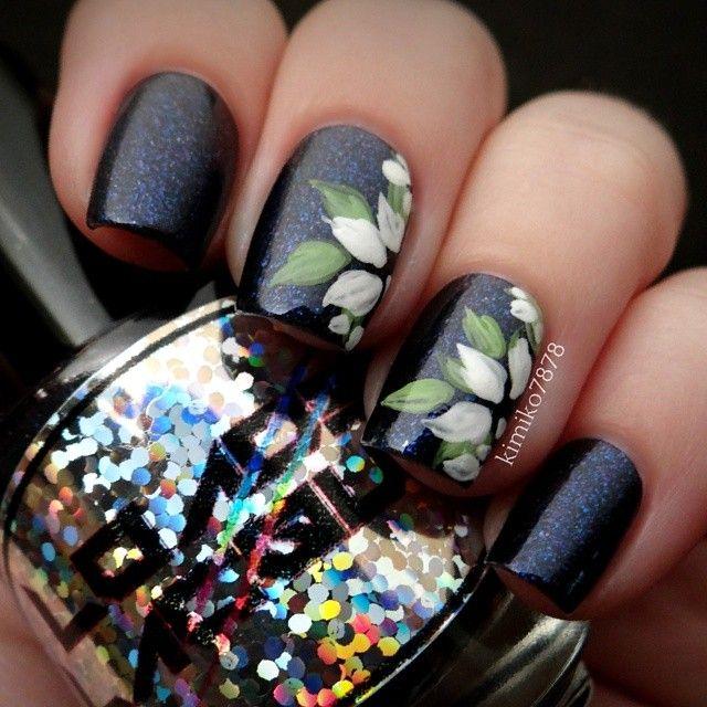elegant floral black nail