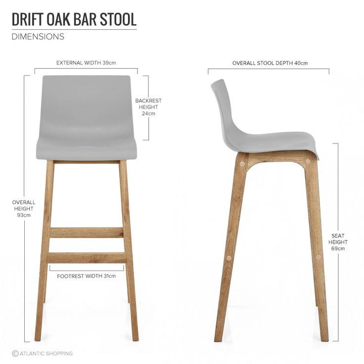 drift oak u0026 grey bar stool