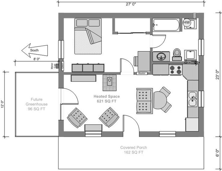 minimalist floor plan of tiny house design ideas - Micro House Plans