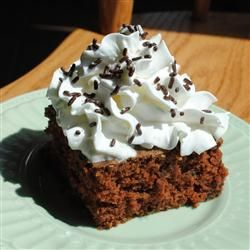 Chocolate Zucchini Bars Allrecipes.com  good treat for that extra zucchini. whipped cream is not part of recipe.