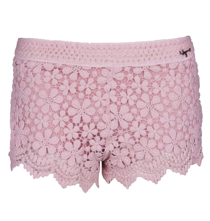 Lace slim fit shorts with flower design and elasticated waist styling.