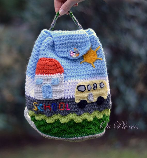 Crochet school bag children bag handmade bag crochet by Ouplexeis