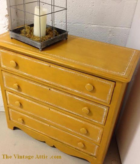 Painted with CeCe Caldwell's Paints in Middleton Mustard and sealed with CeCe Caldwell's Satin Finish. Painted by The Vintage Attic.