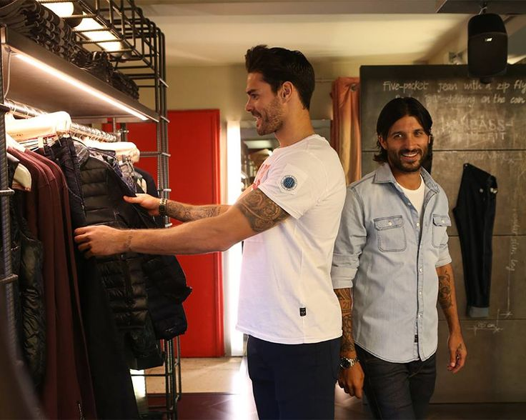 Dressing like winners. Olympiacos FC players Chori Dominguez and Alberto Botia visited the Ermou Replay Store to try out our Fall/Winter 2016 collection.