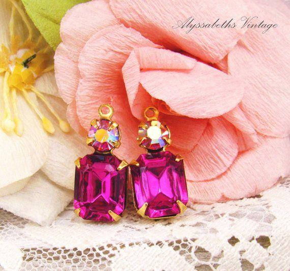 d968608c3 Vintage Swarovski Octagon Fuchsia Pink & AB Rose Rhinestone Set Stone Drops  Antiqued Silver / Brass Earring Setting Dangles 18x8mm - 2